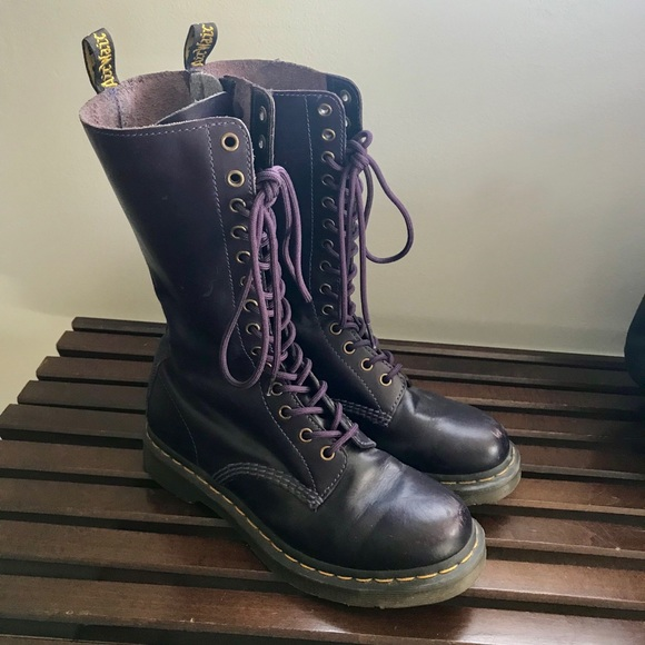 f9be7a505af Dr. Martens Shoes | Dr Martens Purple Lace Up Tall Boots Size 9 ...